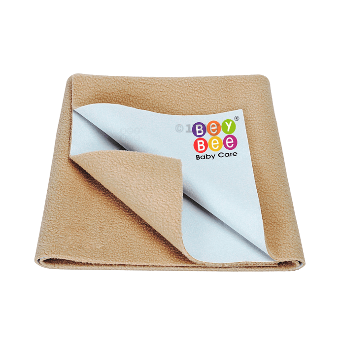 Bey Bee Waterproof Baby Bed Protector Dry Sheet for New Born Babies (70cm X 50cm) Small Beige