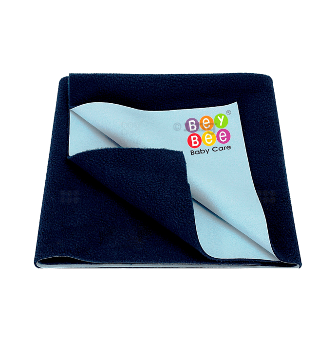 Bey Bee Waterproof Baby Bed Protector Dry Sheet for New Born Babies (70cm X 50cm) Small Dark Blue