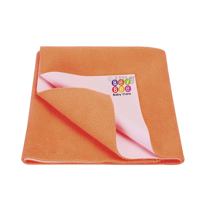Bey Bee Waterproof Baby Bed Protector Dry Sheet for New Born Babies (70cm X 50cm) Small Peach