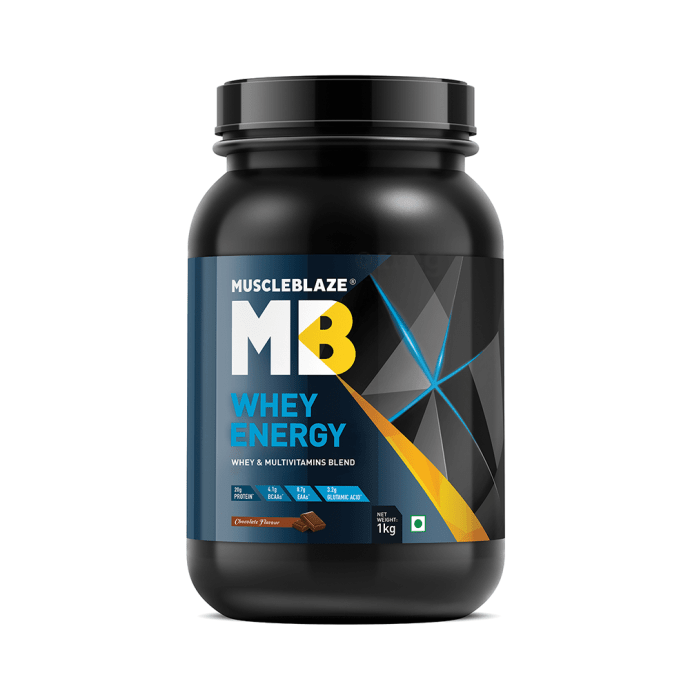 MuscleBlaze Whey Energy with Digezyme Whey & Multivitamins Blend Powder Chocolate