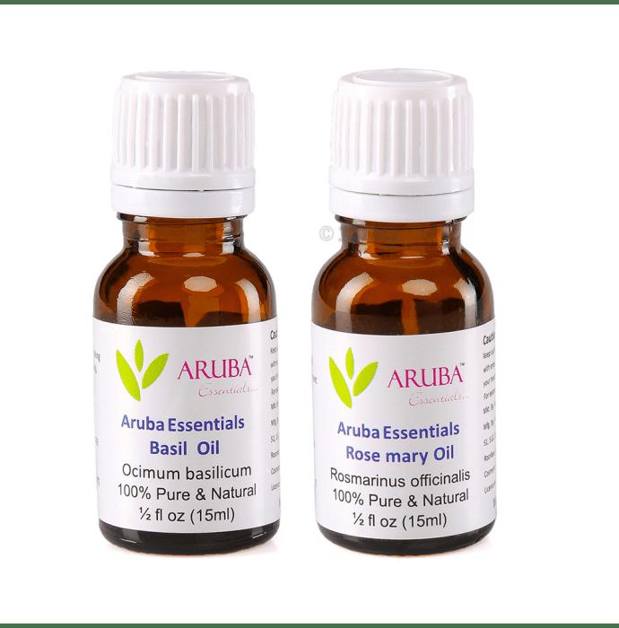 Aruba Essentials Combo Pack of Basil Oil & Rosemary Oil (15ml Each)
