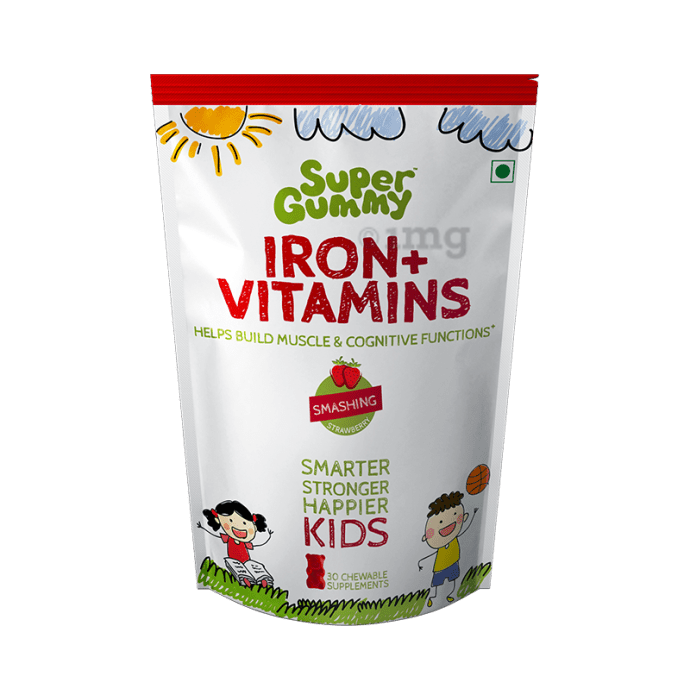 Super Gummy Iron + Vitamins for Kids Smashing Strawberry