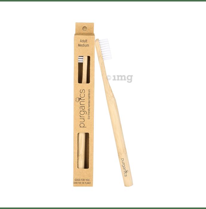Purganics Bamboo Toothbrush for Adults White Medium