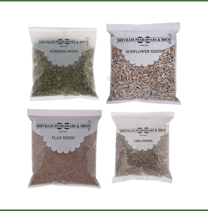 Shivram Peshawari & Bros Combo Pack of Healthy Pumpkin, Sunflower, Flax and Chia Seeds (250gm Each)