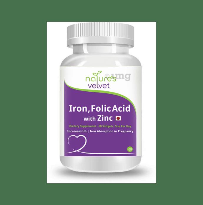 Nature's Velvet Iron & Folic Acid with Zinc Softgels