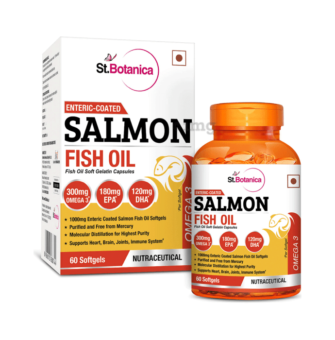 St.Botanica Enteric Coated Salmon Fish Oil Omega 3 with 1000mg Fish Oil Softgels