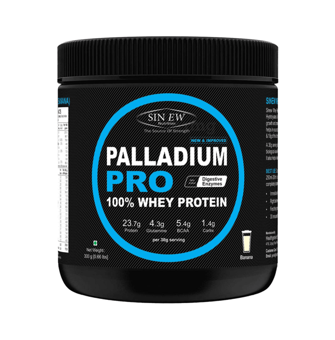 Sinew Nutrition Palladium Pro 100% Whey Protein with Digestive Enzymes Banana