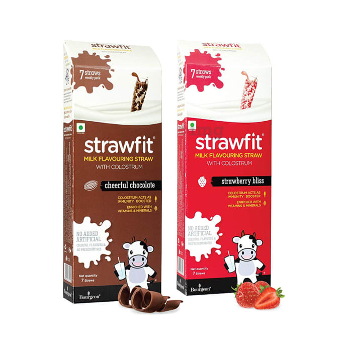 Strawfit Milk Flavouring Straw with Colostrum Cheerful Chocolate & Strawberry Bliss Pack 7+7