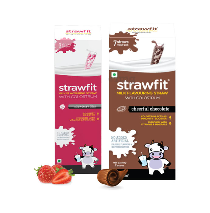 Strawfit Milk Flavouring Straw with Colostrum Strawberry Bliss & Cheerful Chocolate Pack 3+7