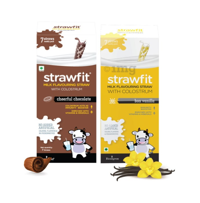 Strawfit Milk Flavouring Straw with Colostrum Cheerful Chocolate & Bon Vanilla Pack 7+7