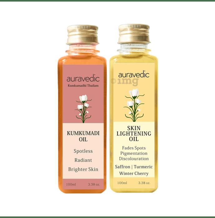 Auravedic Combo Pack of Kumkumadi Oil & Skin Lightening Oil (100ml Each)