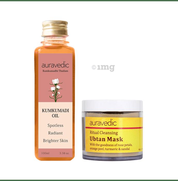 Auravedic Combo Pack of Kumkumadi Oil (100ml) & Ritual Cleansing Ubtan Mask (60gm)