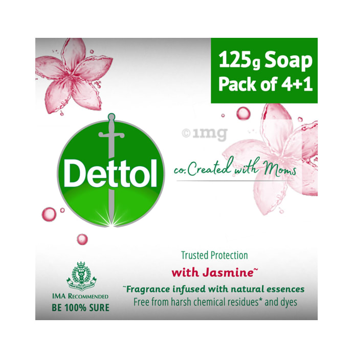 Dettol Co. Created with Moms Soap (125gm Each) with Jasmine Buy 4 Get 1 Free