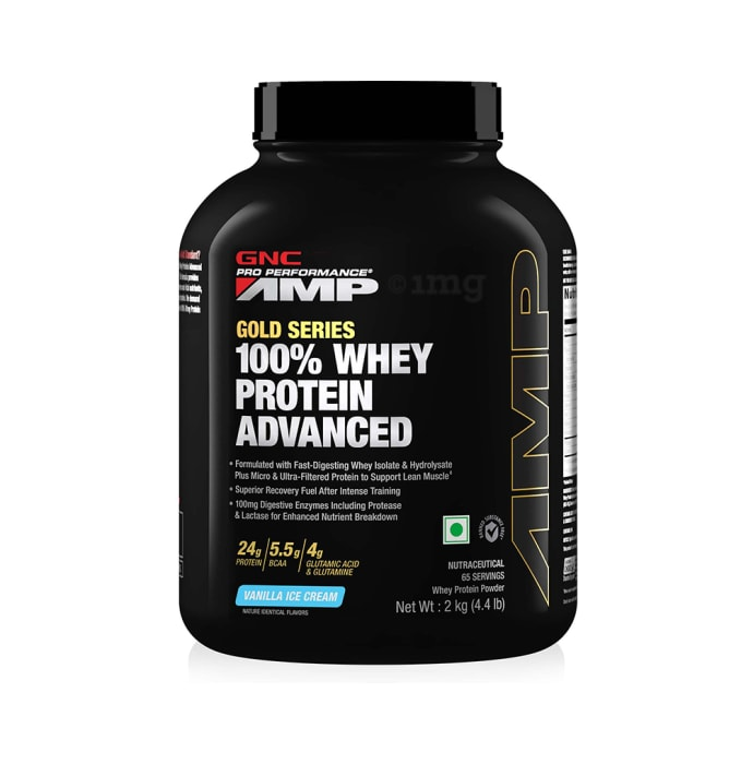 GNC Amp Gold 100% Whey Protein Advanced Powder Vanilla Icecream