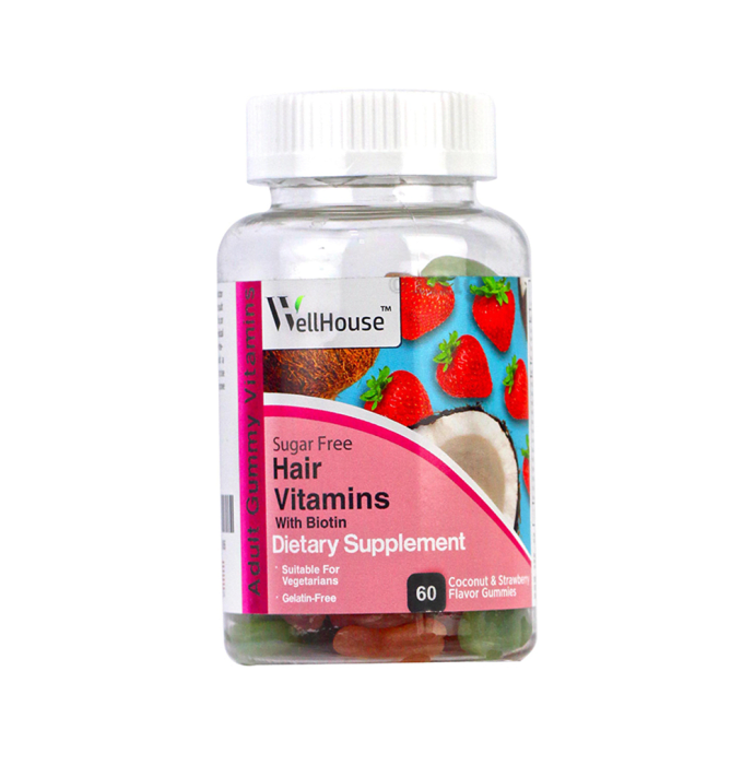 Wellhouse Hair Vitamins with Biotin Gummy Coconut & Strawberry Sugar Free