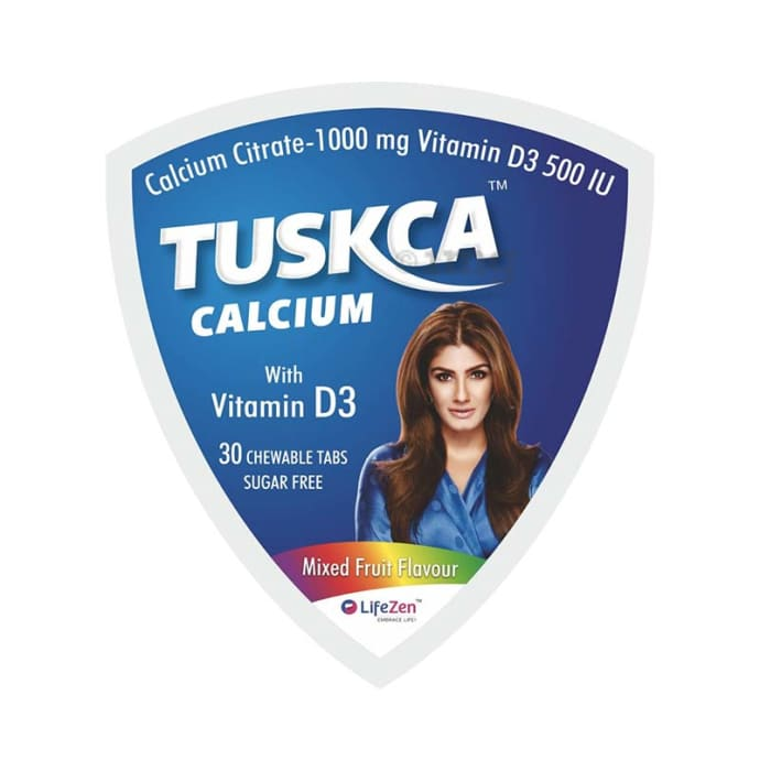 Tuskca Calcium with Vitamin D3 Sugar Free Chewable Tablet Mixed fruit