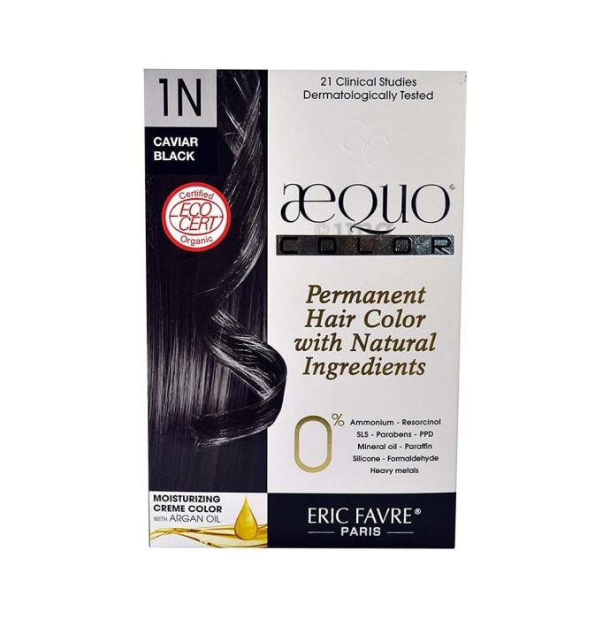 Aequo Permanent Hair Color with Natural Ingreidents Caviar Black 1N