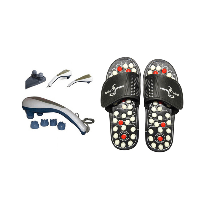 Dominion Care Combo Pack of Accu Paduka Accupressure Massage Slipper and Double Dolphin Massager