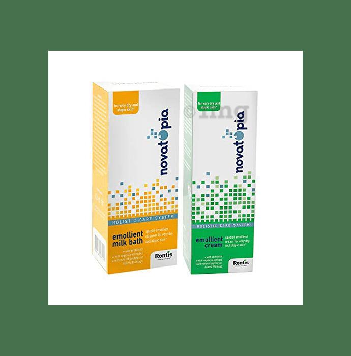 Novatopia Combo Pack of Emollient Cream and Emollient Milk Bath