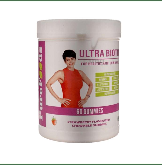 PureFoods Ultra Biotin Chewable Gummies Strawberry Gluten Free