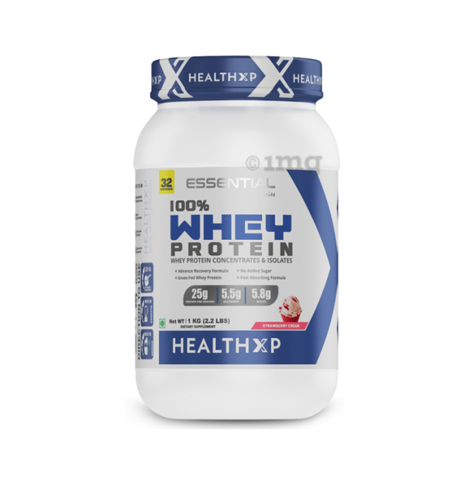 HealthXP 100% Whey Protein Strawberry Cream