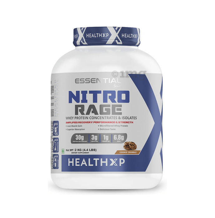 HealthXP Nitro Rage Whey Protein Concentrates & Isolates Powder Cookie Crumble