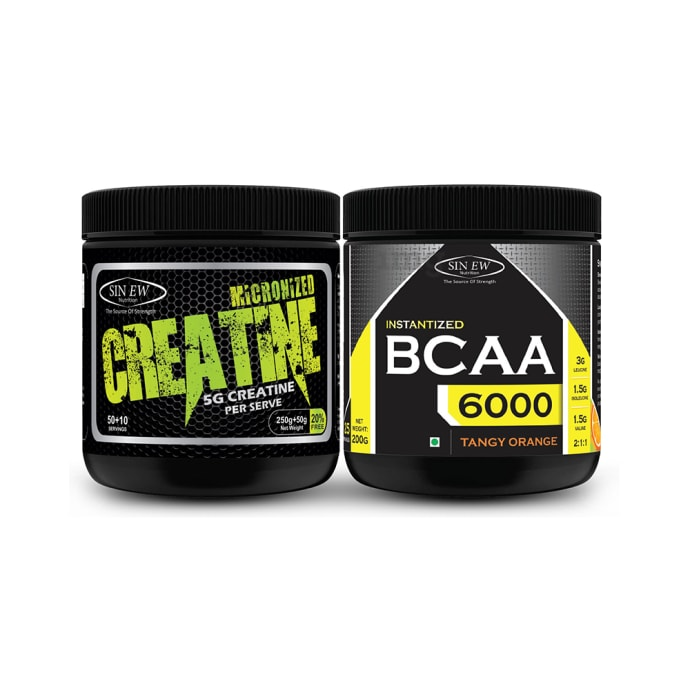 Sinew Nutrition Combo Pack of Micronised Creatine, 300gm and Instantized BCAA 2:1:1, 200gm Unflavoured