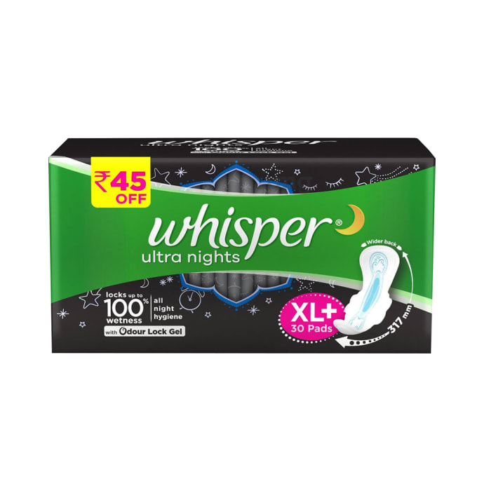 Whisper Ultra Nights Wings Sanitary Pads XL Plus