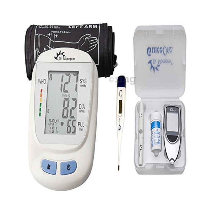 Dr Morepen Combo Pack of B.P. Monitor BP-09, Glucometer with 25 Test Strips and Thermometer