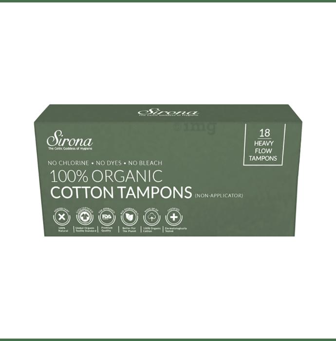 Sirona 100% Organic Cotton Tampons (Non-Applicator) Heavy Flow