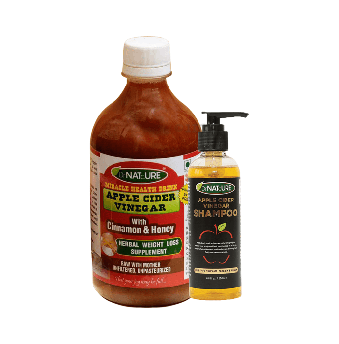 DrNATcURE Apple Cider Vinegar with with Cinnamon & Honey with Apple Cider Vinegar Shampoo 200ml Free