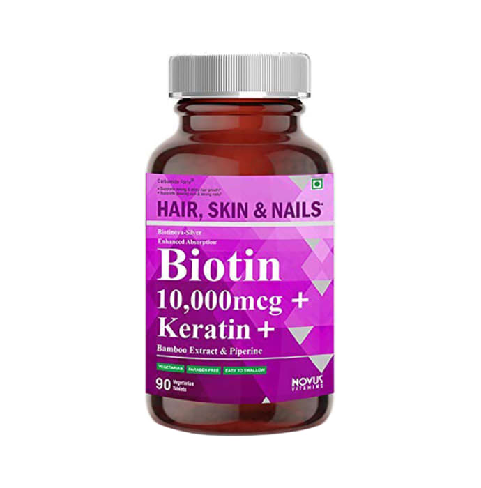 Carbamide Forte Biotin 10,000mcg with Keratin, Bamboo Extract & Piperine Vegetarian Tablet