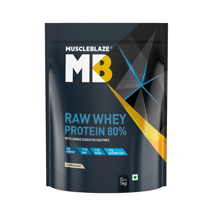 MuscleBlaze Raw Whey Protein 80% Unflavoured