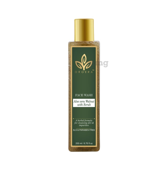 Orgera Aloevera Walnut with Scrub SLS Paraben Free Face Wash