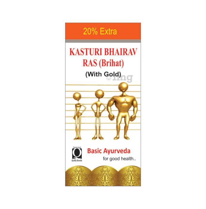 Basic Ayurveda Brihat Kasturi Bhairav Ras with Gold