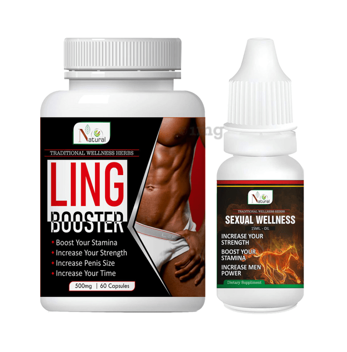 Natural Combo Pack of Ling Booster 500mg, 60 Capsule & Sexual Wellness Oil 15ml