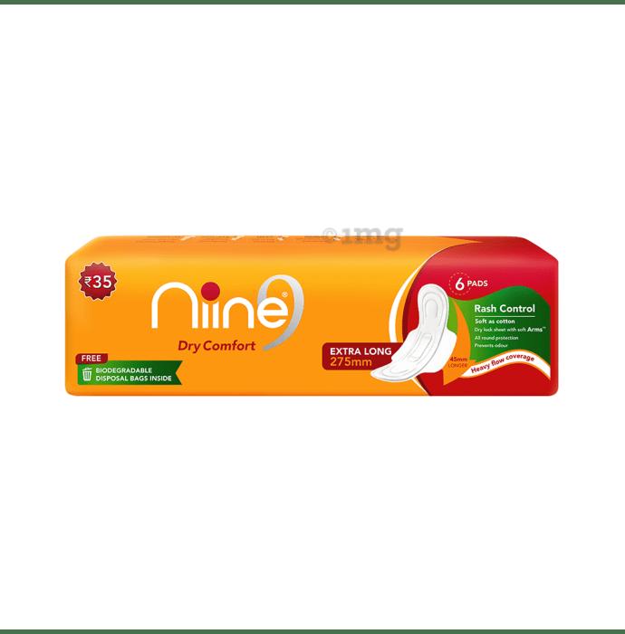 Niine Sanitary Pads with Free Disposable Bag Extra Long