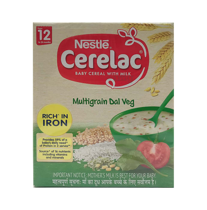 Nestle Cerelac Fortified Baby Cereal with Milk 12Months+ Multigrain Dal Veg
