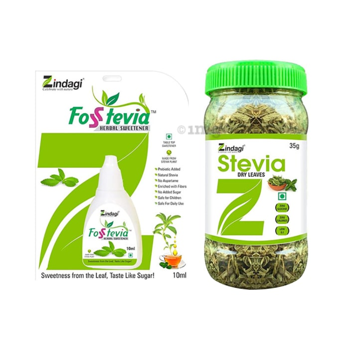 Zindagi Combo Pack of Stevia Liquid (10ml) & Stevia Dry Leaves (35gm)
