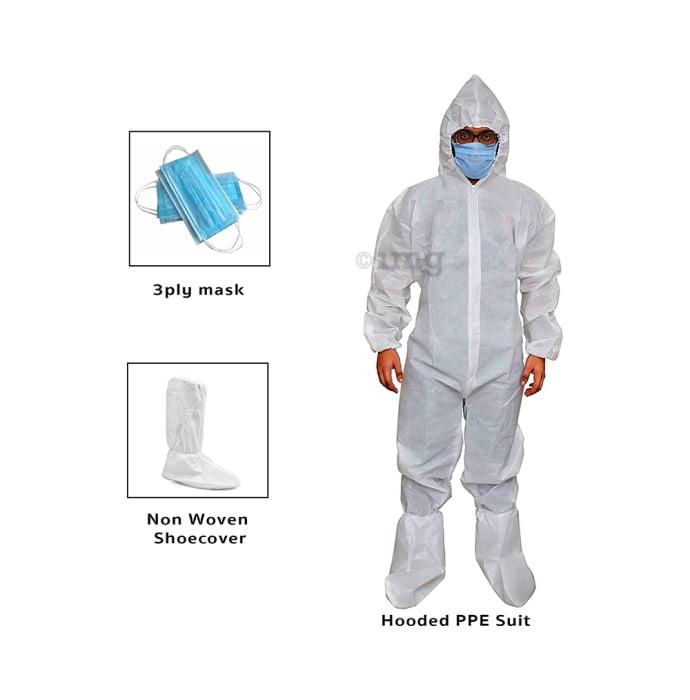 Impex PPE Suit (75 GSM) White with Shoe Cover