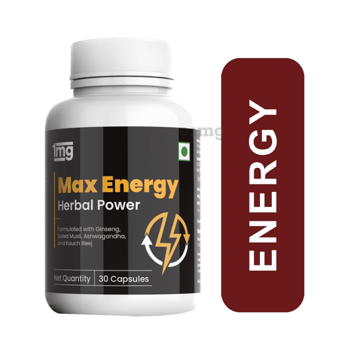 1mg Max Energy Capsule with Ginseng, Ashwagandha & Green Coffee Beans