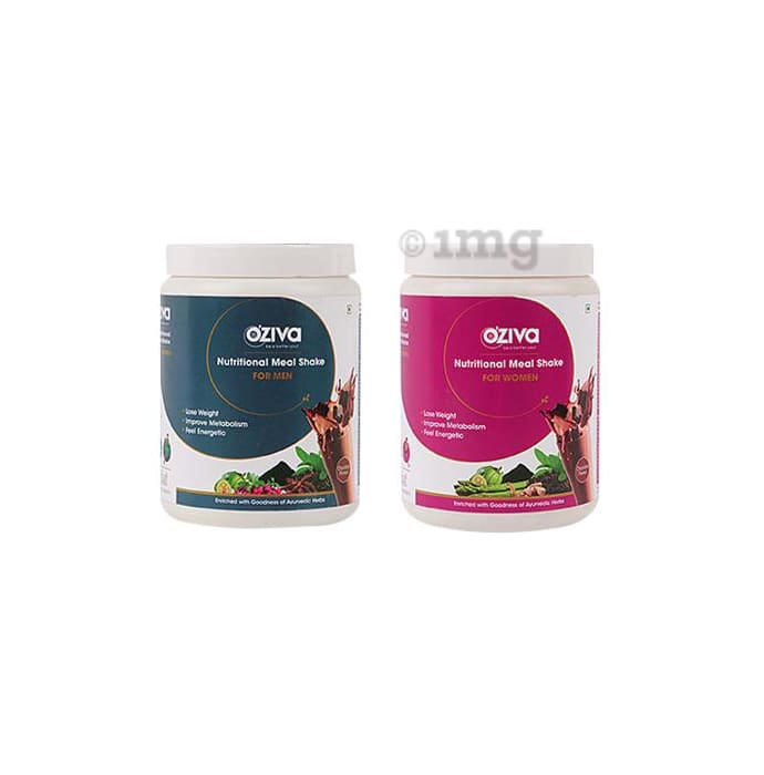 Oziva Combo Pack of Nutritional Meal Shake for Men and Women (500gm Each) Chocolate