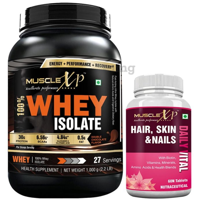 MuscleXP 100% Whey Isolate  1Kg, Double Chocolate with MuscleXP Hair, Skin & Nails Advanced Multivitamin 60 Tablets