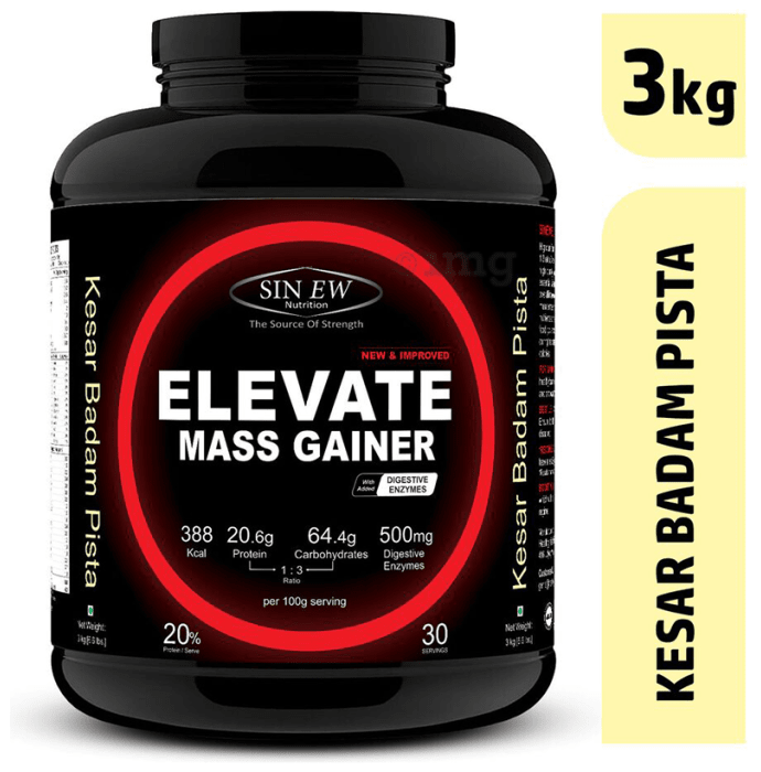 Sinew Nutrition Elevate Mass Gainer with DigiEnzymes Kesar Pista Badam