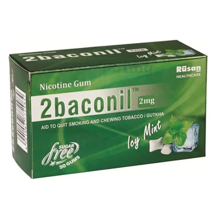 2baconil 2mg Nicotine Gum Sugar Free Ice Mint Chewing Gums
