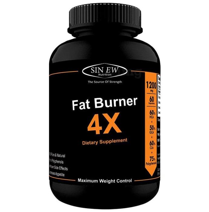 Sinew Nutrition Natural Fat Burner 4X (Green Tea, CLA, Green Coffee & Garcinia Cambogia Extract) - 1200mg