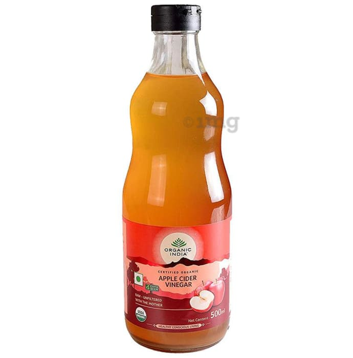 Organic India Apple Cider Vinegar with Mother of Vinegar, Raw, Unfiltered