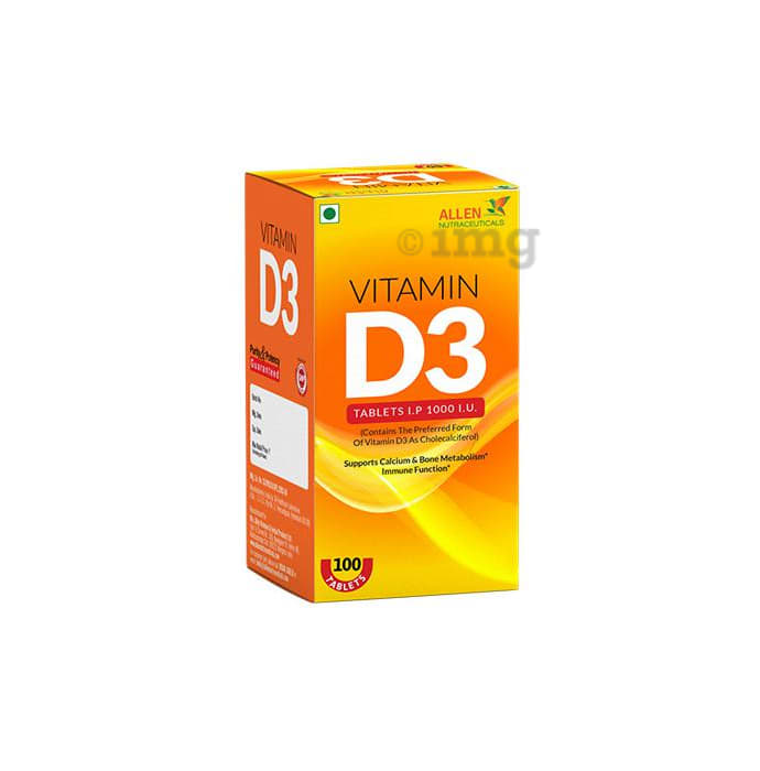 Allen Nutraceutical Vitamin D3 I.P.1000 I.U Tablet