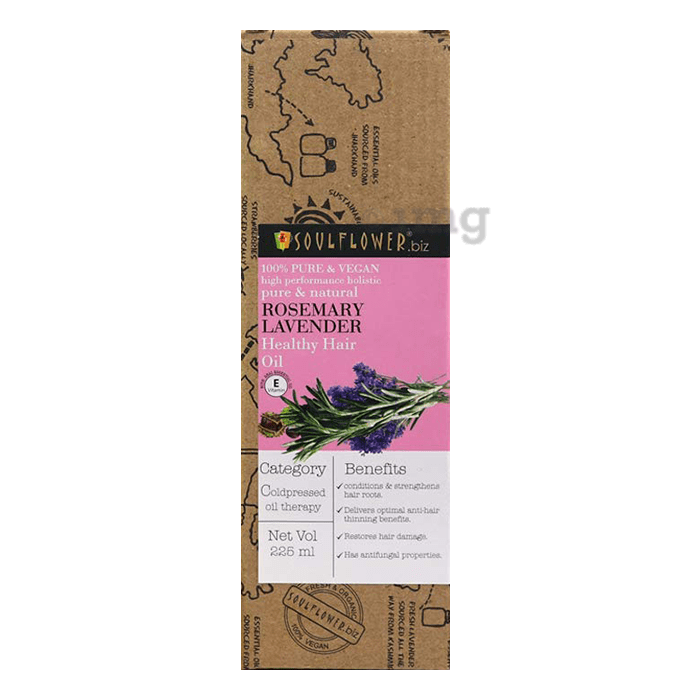 Soulflower Pure and Natural Rosemary Lavender Healthy Hair Oil