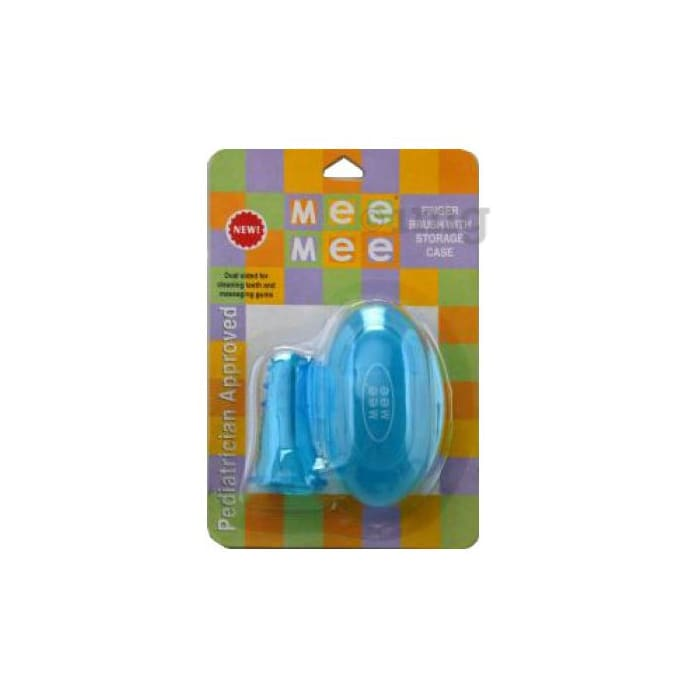 Mee Mee Unique Finger Brush with Cover Blue